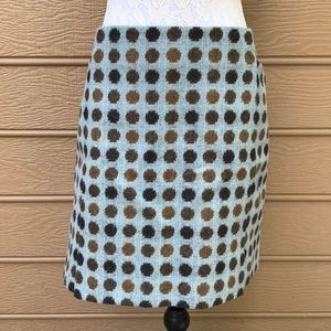 Boden Tweed Skirt Blue with Brown Polka Dots Sz 14